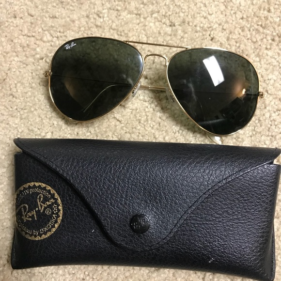 6977b72fcb Ray-Ban Large Aviators Gold   Green RB 3026. M 5a3456483a112e136601979a